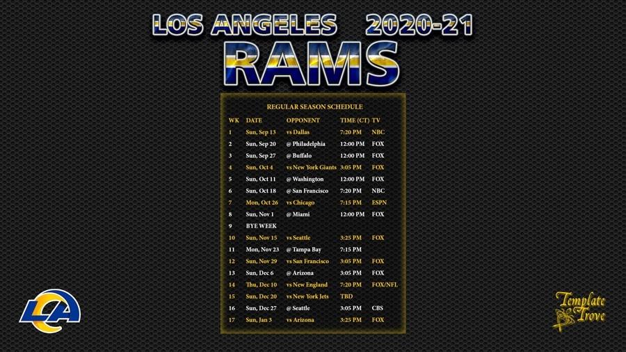 2020-2021 Los Angeles Rams Wallpaper Schedule-Printable Nfl Schedule 2021 Season