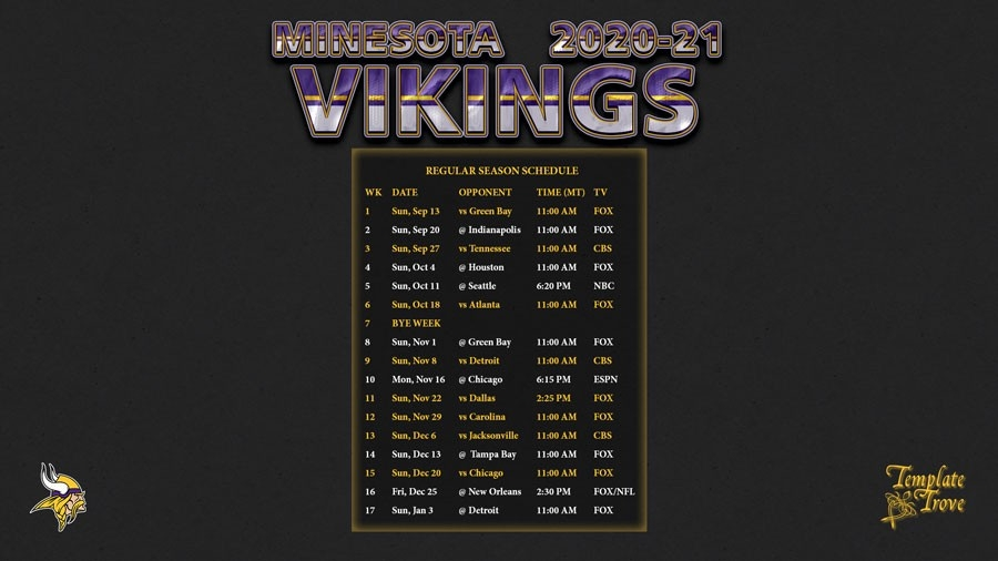 2020-2021 Minnesota Vikings Wallpaper Schedule-Free Printable Nfl Schedule 2021