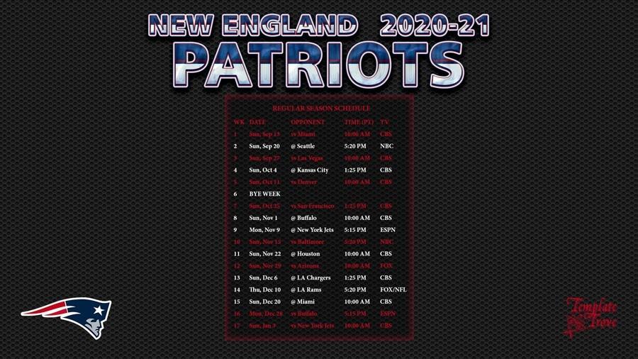 2020-2021 New England Patriots Wallpaper Schedule-Printable Nfl Schedule 2021 Season