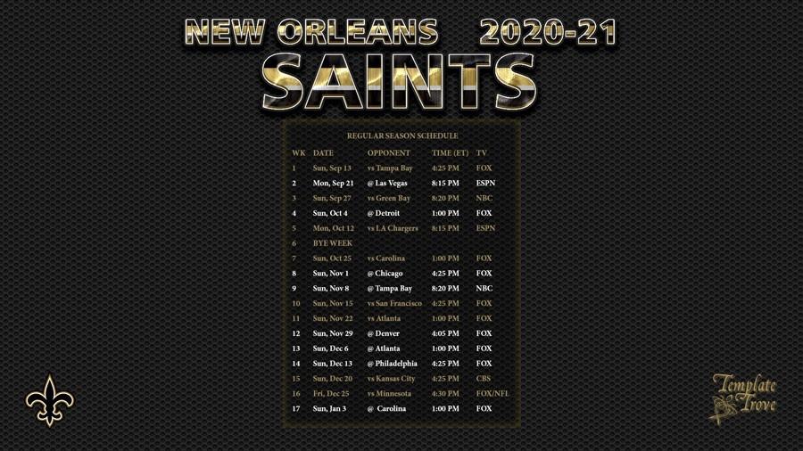 2020-2021 New Orleans Saints Wallpaper Schedule-Printable Nfl Schedule For 2021 2021