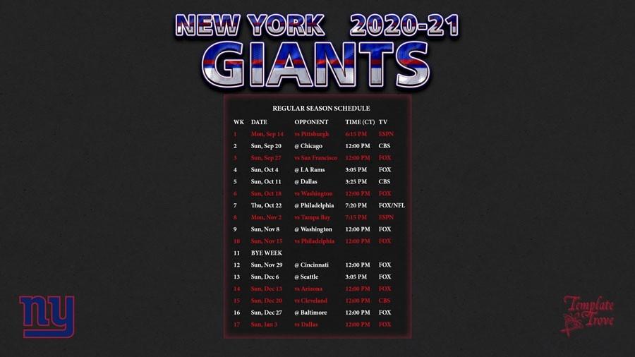2020-2021 New York Giants Wallpaper Schedule-Printable Nfl Schedule 2021 Season