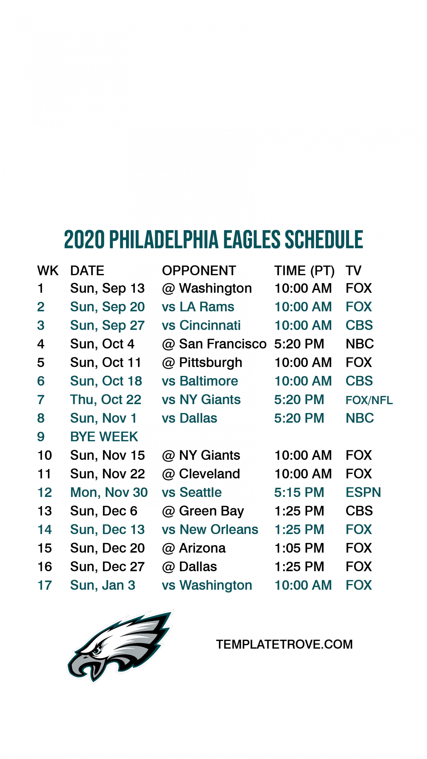 2020-2021 Philadelphia Eagles Lock Screen Schedule For Iphone 6-7-8 Plus-Printable Nfl Schedule For 2021 2021