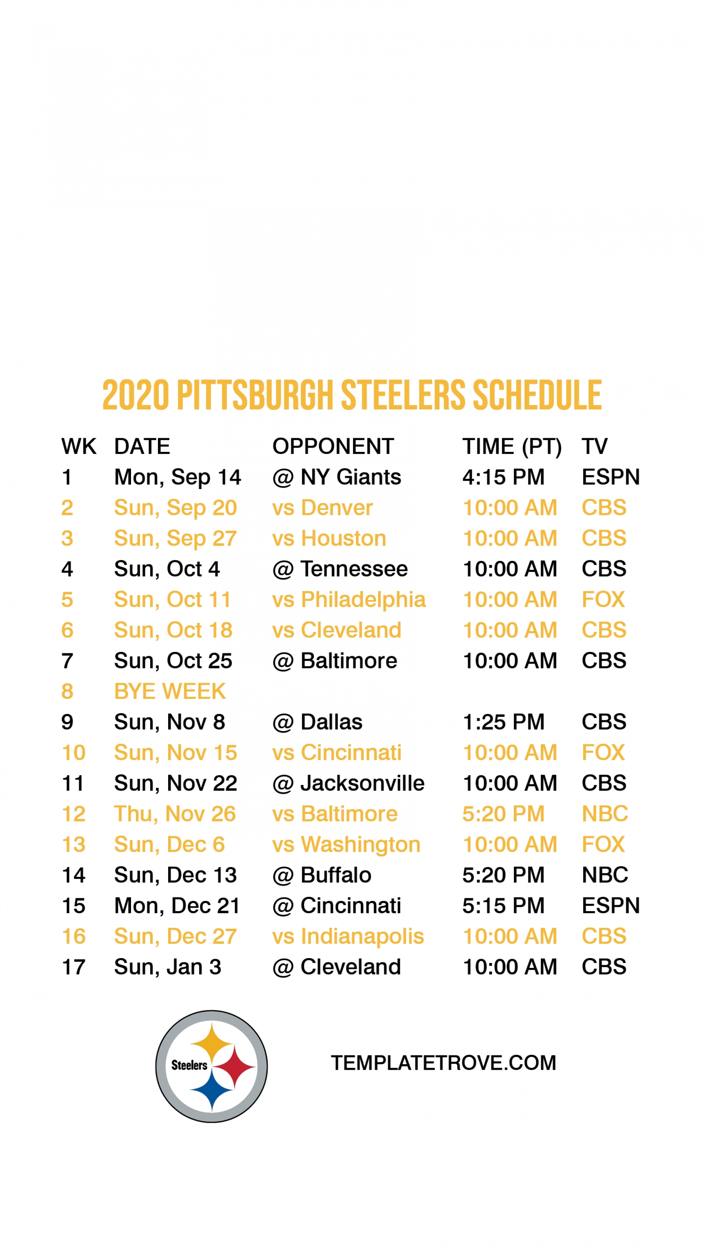 2020-2021 Pittsburgh Steelers Lock Screen Schedule For Iphone 6-7-8 Plus-Printable Nfl Schedule For 2021 2021
