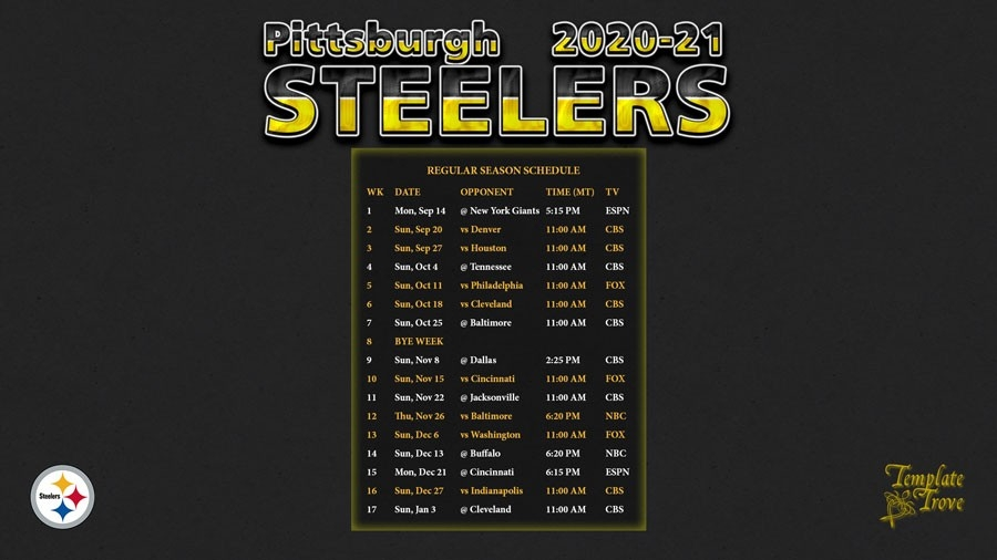 2020-2021 Pittsburgh Steelers Wallpaper Schedule-Free Printable Nfl Schedule 2021