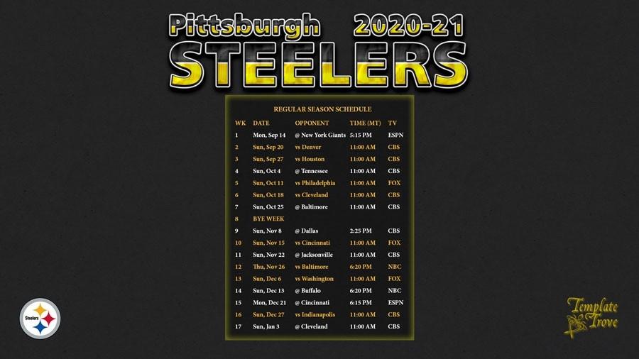 2020-2021 Pittsburgh Steelers Wallpaper Schedule-Printable Nfl Schedule 2021 Season