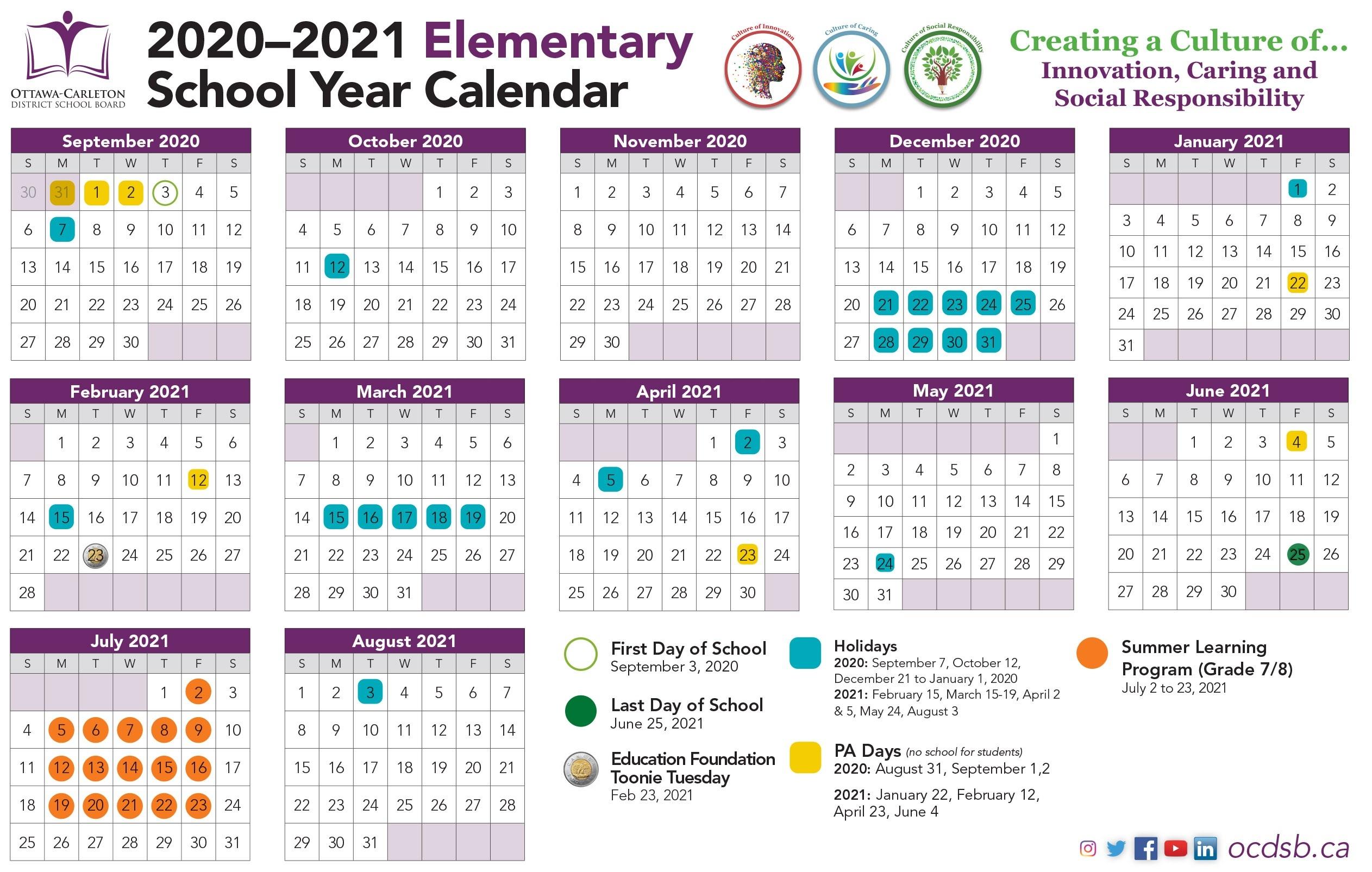 2020-2021 School Year Calendar Approved By The Ministry - Ottawa-Carleton District School Board-2021 4 Shift Calendar