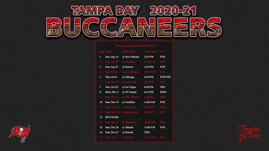 2020-2021 Tampa Bay Buccaneers Wallpaper Schedule-Printable Nfl Schedule 2021 Season