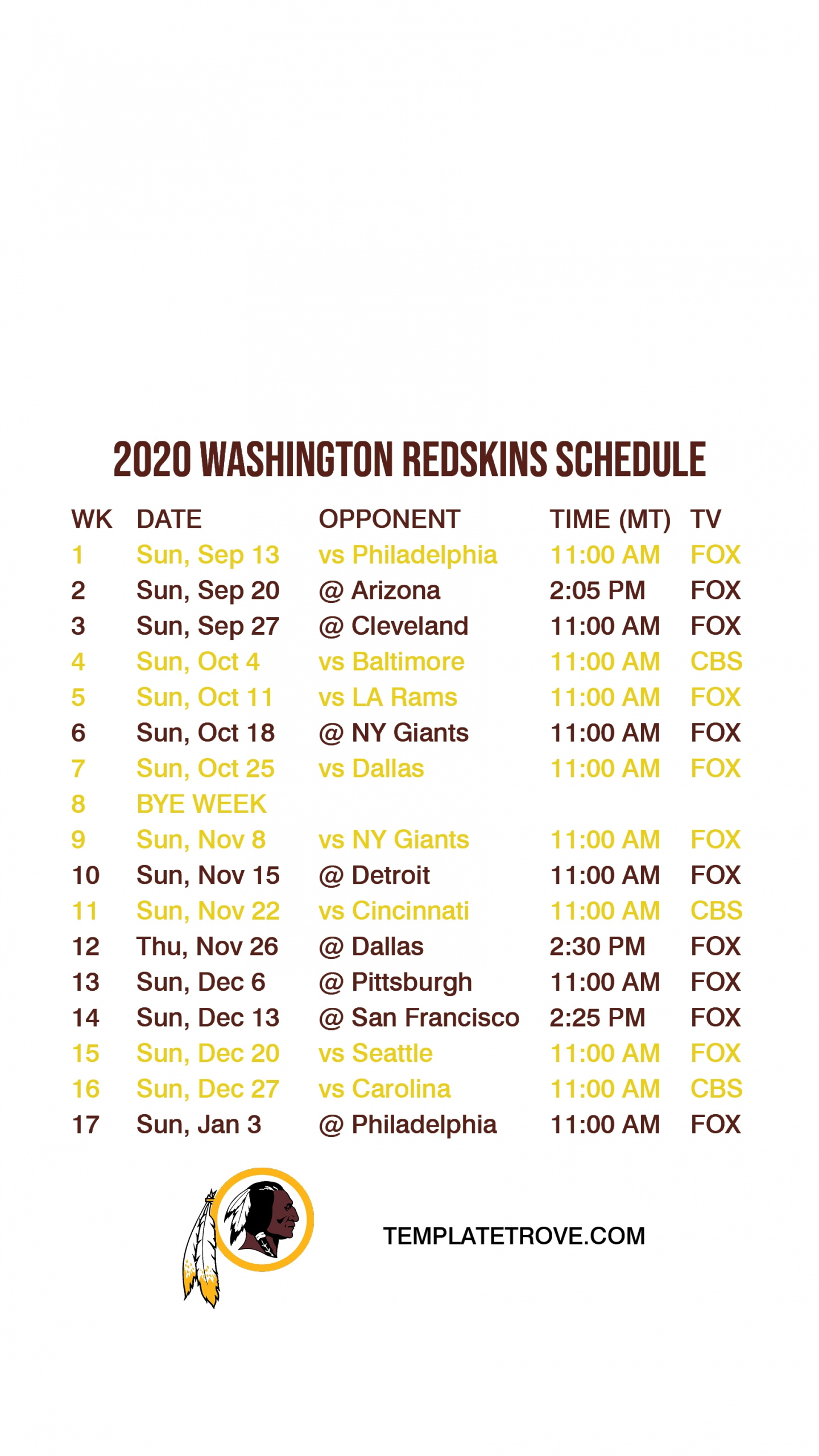 2020-2021 Washington Redskins Lock Screen Schedule For Iphone 6-7-8 Plus-Printable Nfl Schedule For 2021 2021