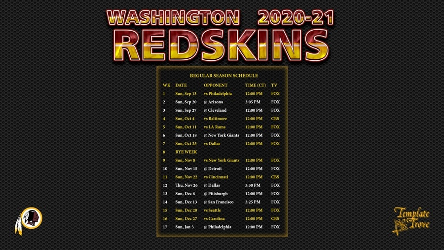 2020-2021 Washington Redskins Wallpaper Schedule-Free Printable Nfl Schedule 2021