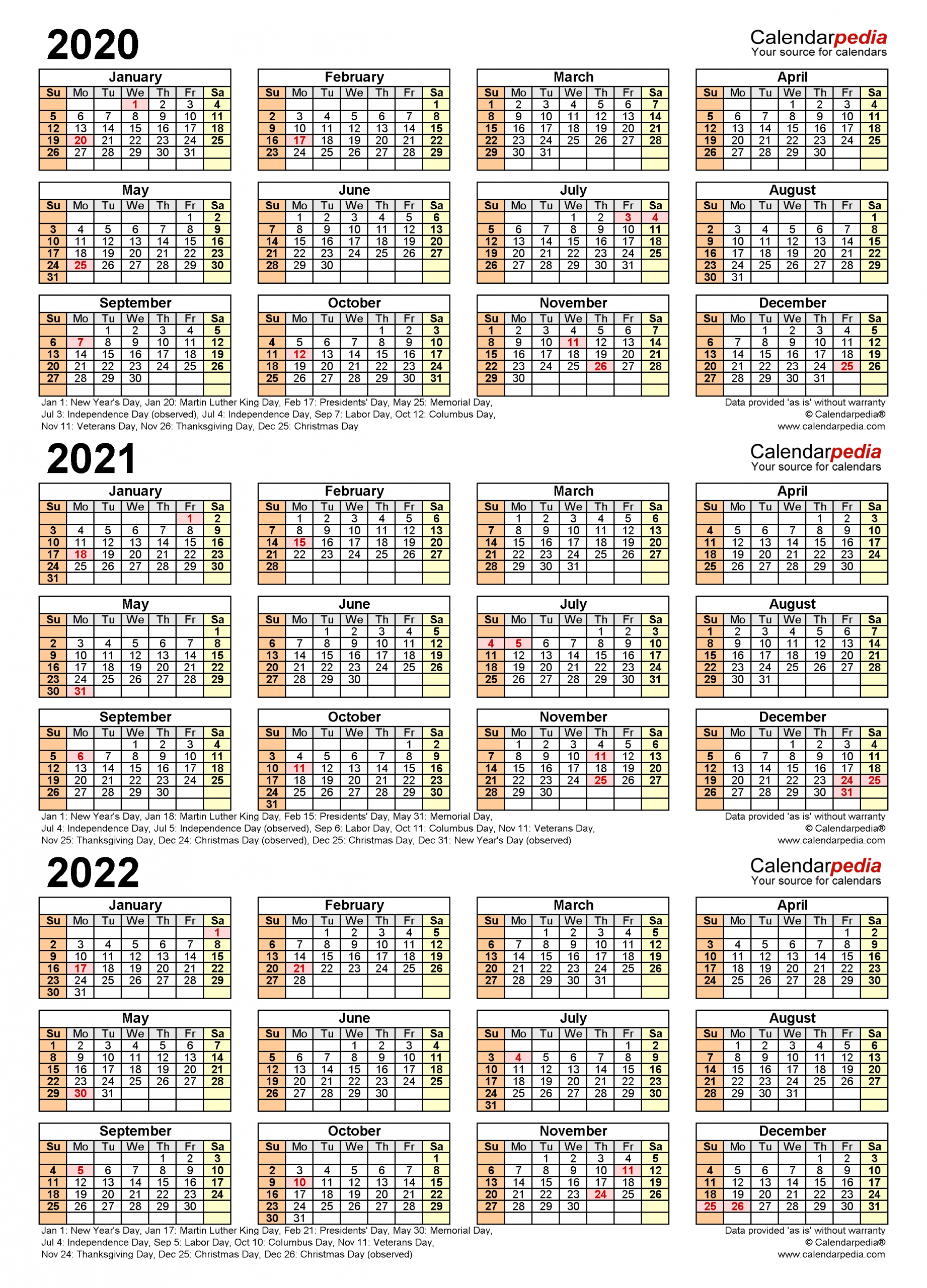 2020-2022 Three Year Calendar - Free Printable Excel Templates-3 Year Calendar 2021