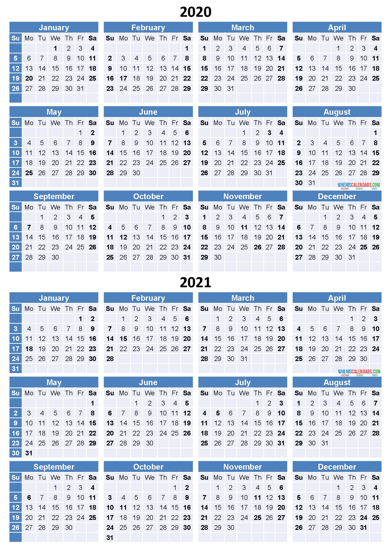 2020 And 2021 Calendar Printable Free Download Word, Pdf, Image – Free Printable 2020 Monthly-Print Free 2021 Calendar Without Downloading
