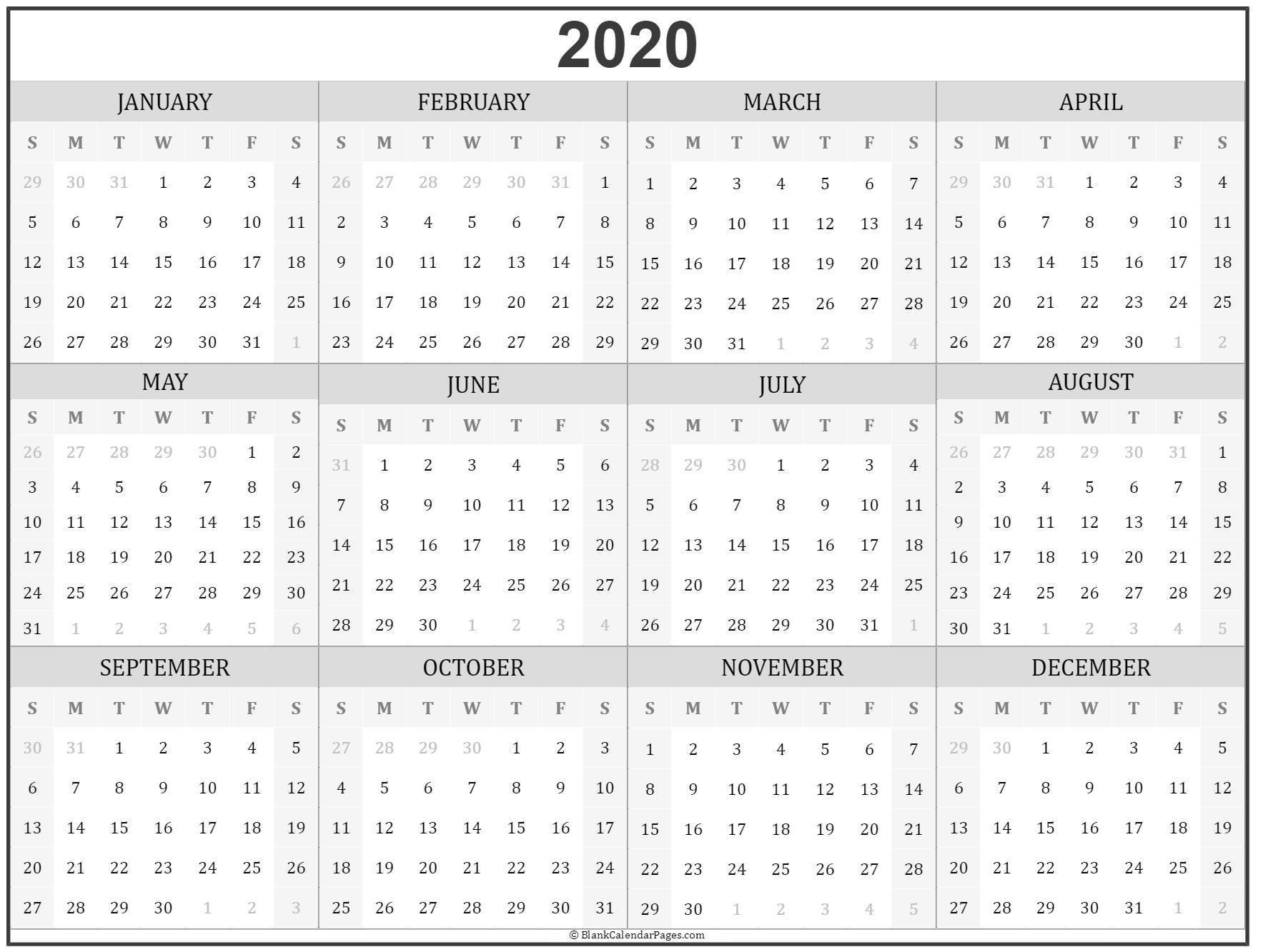 2020 Year Calendar | Yearly Printable-2021 Calendar Fill In