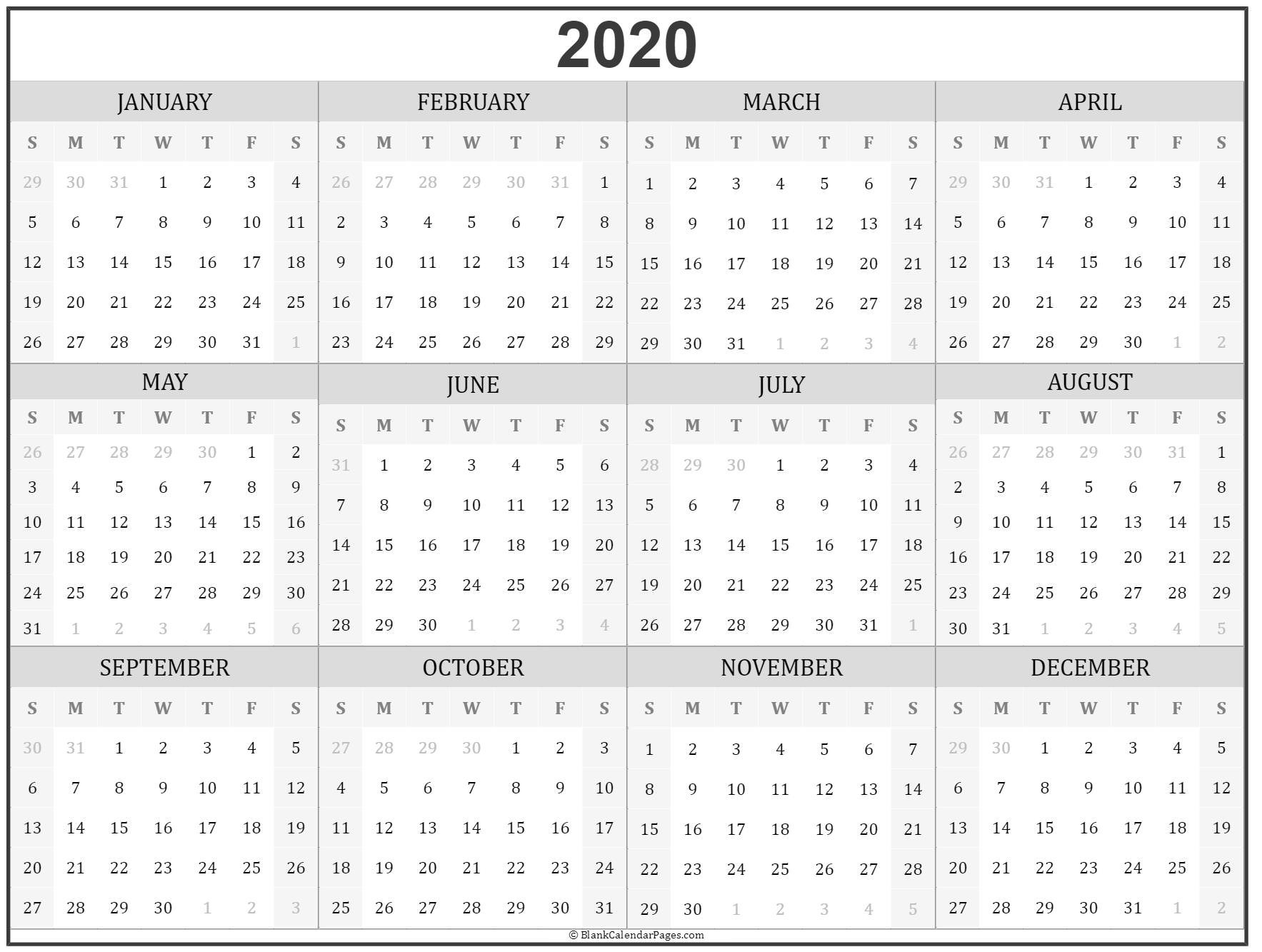 2020 Year Calendar | Yearly Printable-Monthly Fill In Calendar 2021