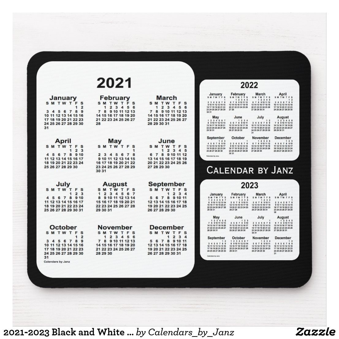 2021-2023 Black And White 3 Year Calendar By Janz Mouse Pad   Zazzle   Holiday Calendar-2021 Yearly Calendar With Boxes