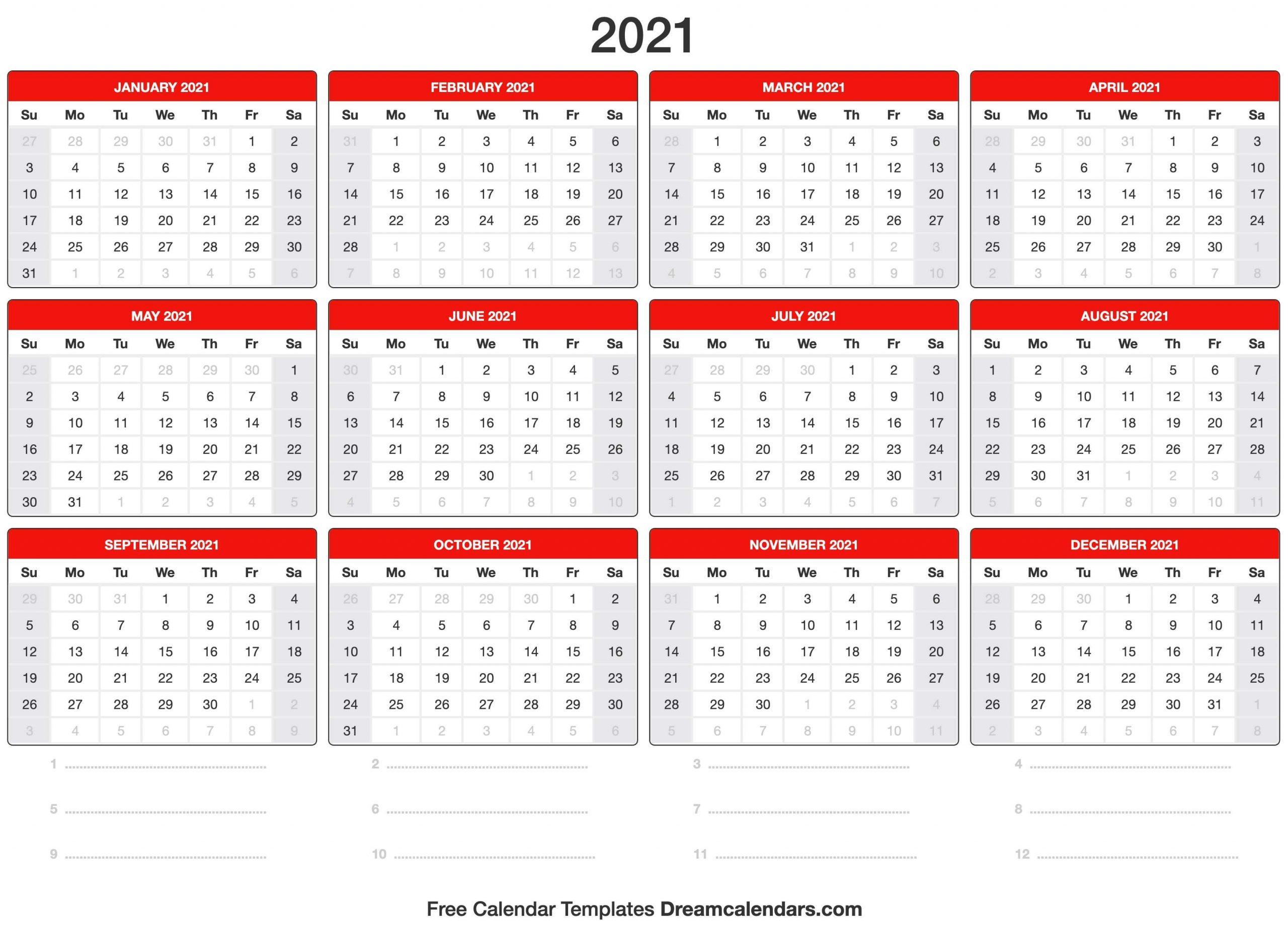 2021 Calnder By Week No Excel   Calendar Template Printable