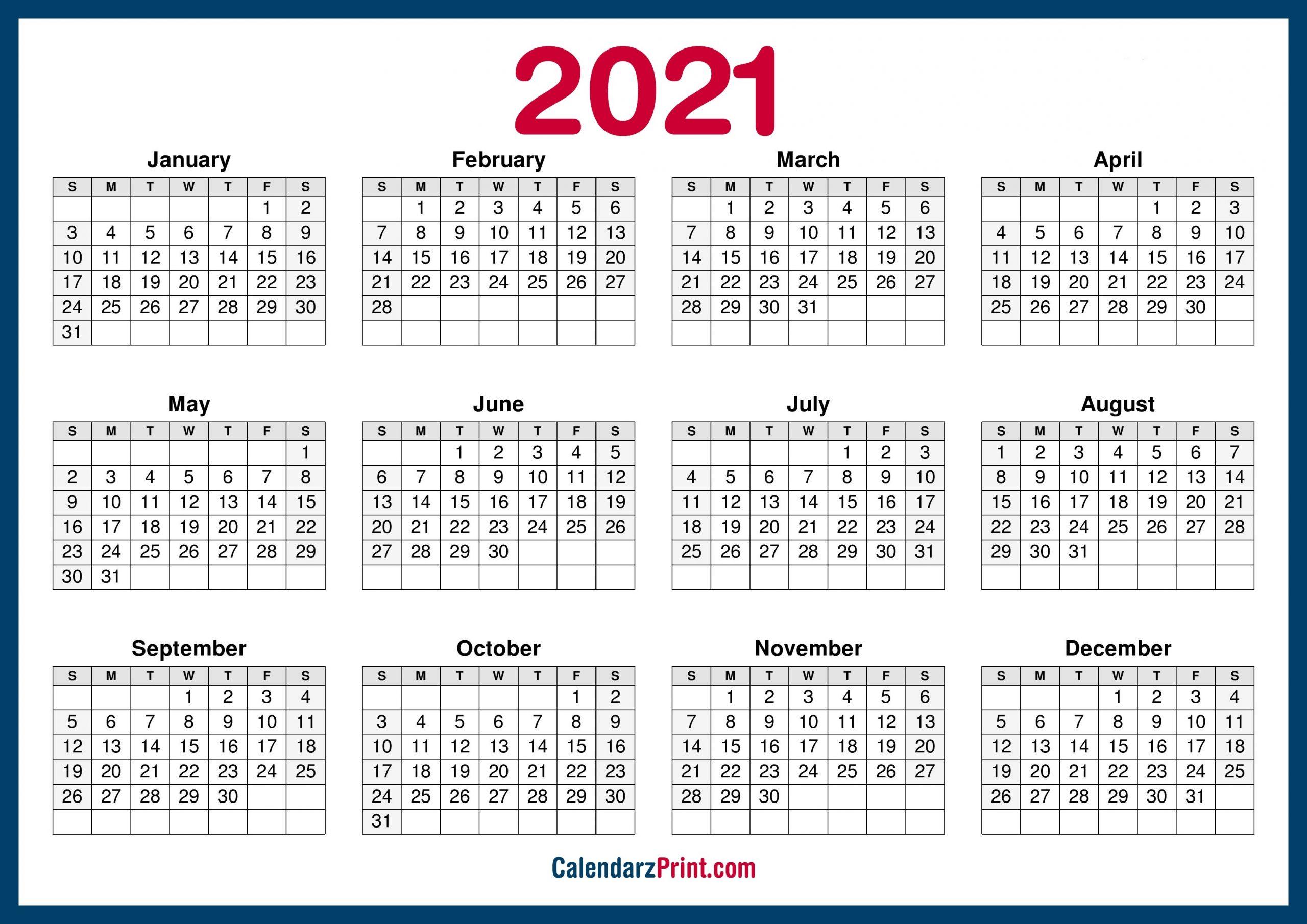 2021 Calendar Printable Free, Horizontal, Hd, Navy Blue – Calendarzprint | Free Calendars-Sunday To Saturday Calendar 2021 Printable
