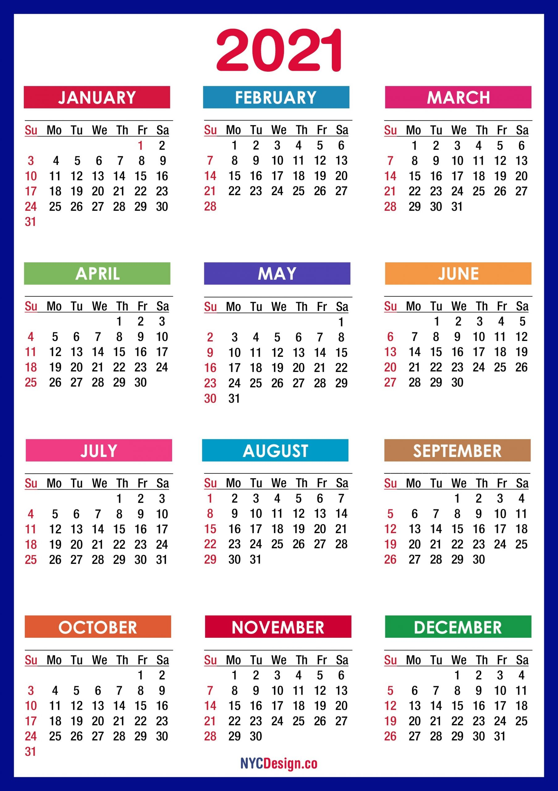 2021 Calendar Printable Free, Pdf, Colorful, Blue, Green – Sunday Start – Nycdesign.co-Sunday To Saturday Monthly Calendar 2021