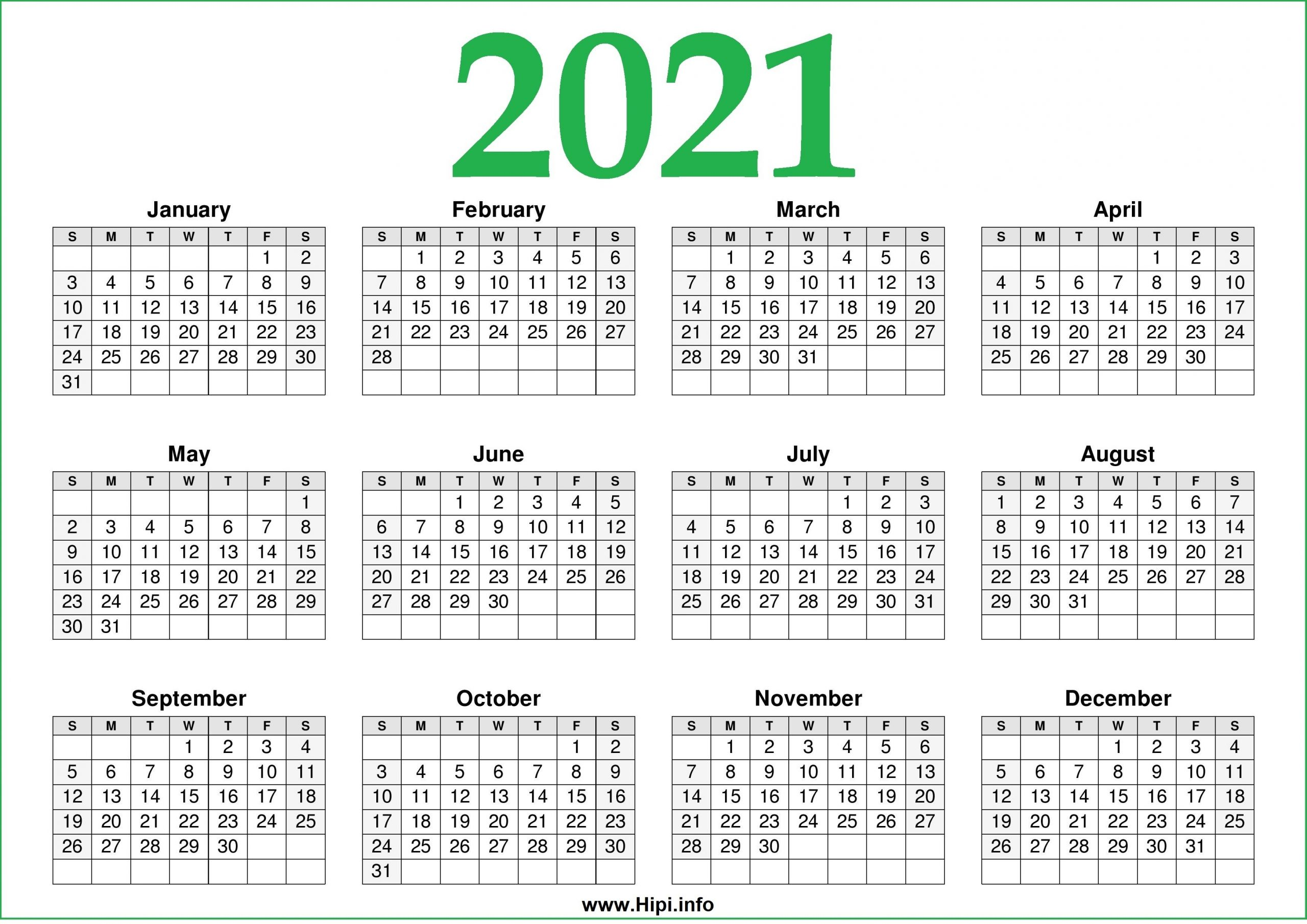 2021 Calendar Printable One Page Free – Free Download - Hipi-Print Free 2021 Calendar Without Downloading