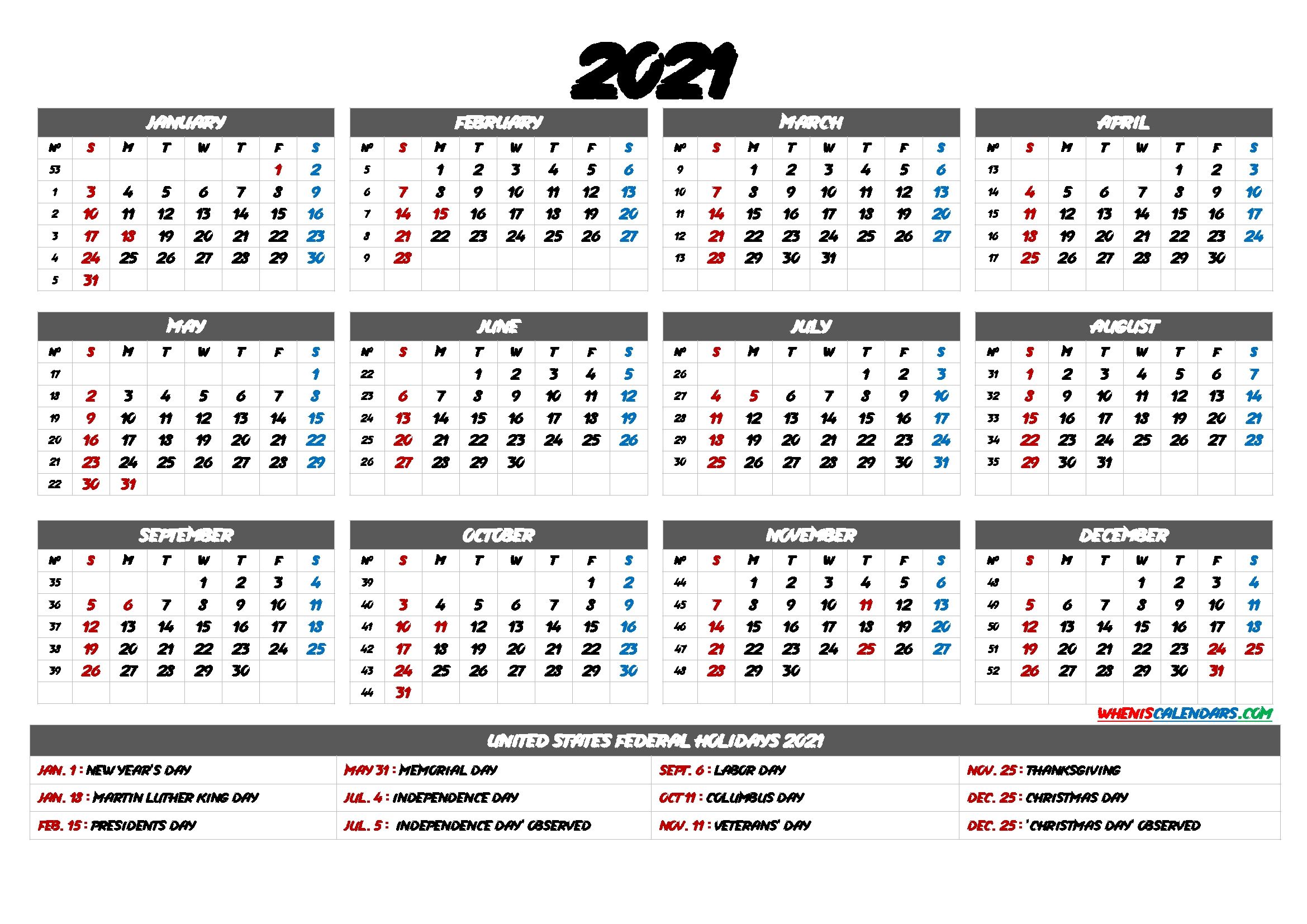 2021 Calendar With Week Numbers – 9 Templates – Free Printable 2020 Monthly Calendar With Holidays-2021 Calnder By Week No Excel