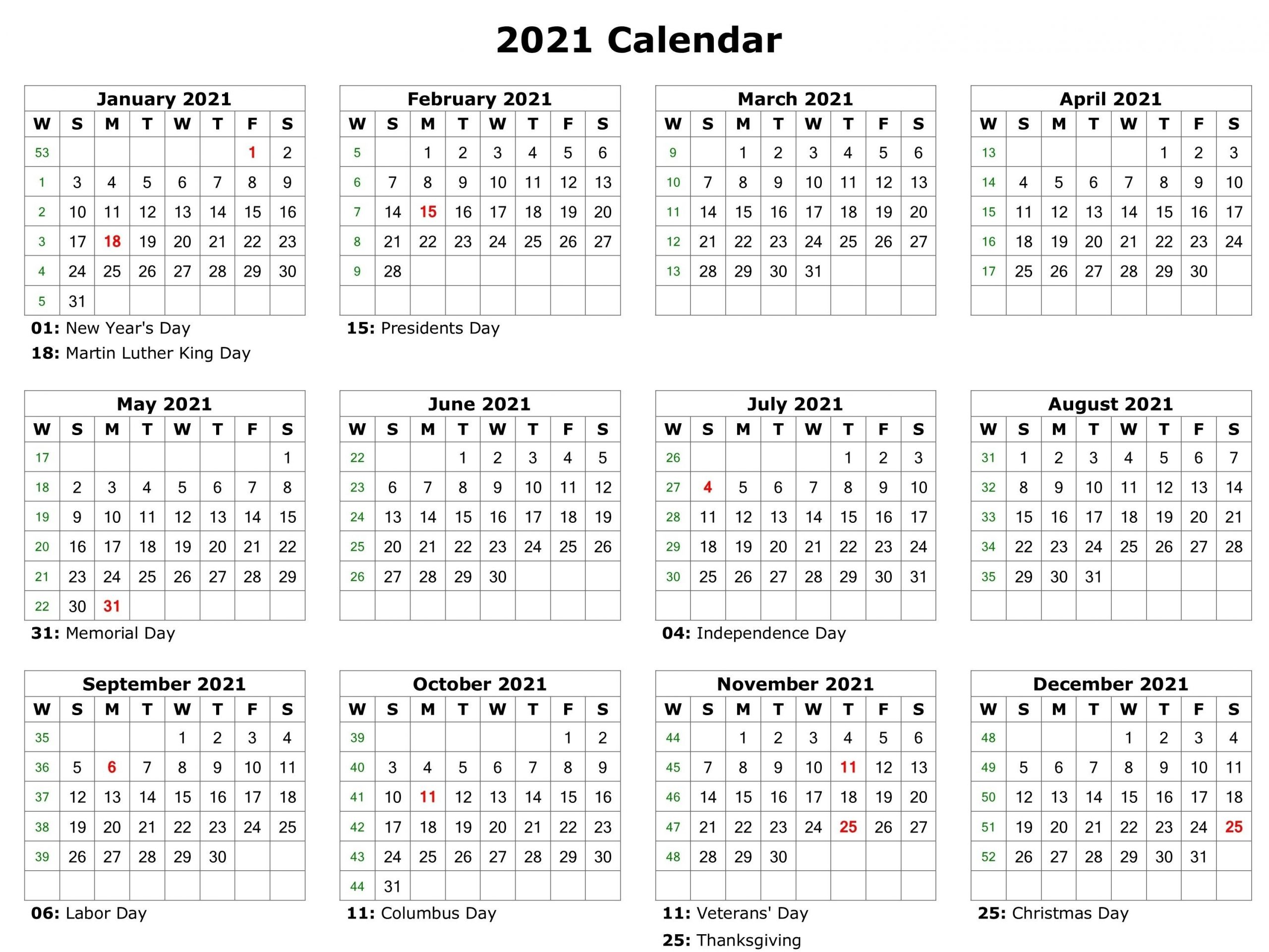 2021 Holidays - Free Download Printable Calendar Templates-2021 Print Free Calendars Without Downloading