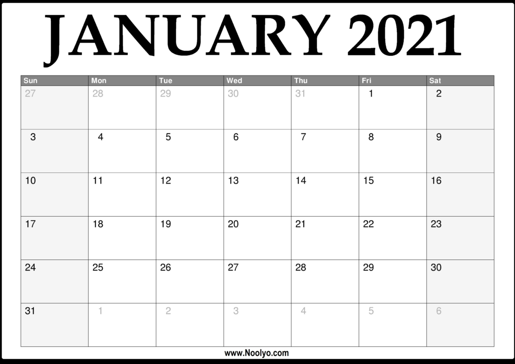 2021 January Calendar Printable – Download Free – Noolyo-2021 Print Free Calendars Without Downloading