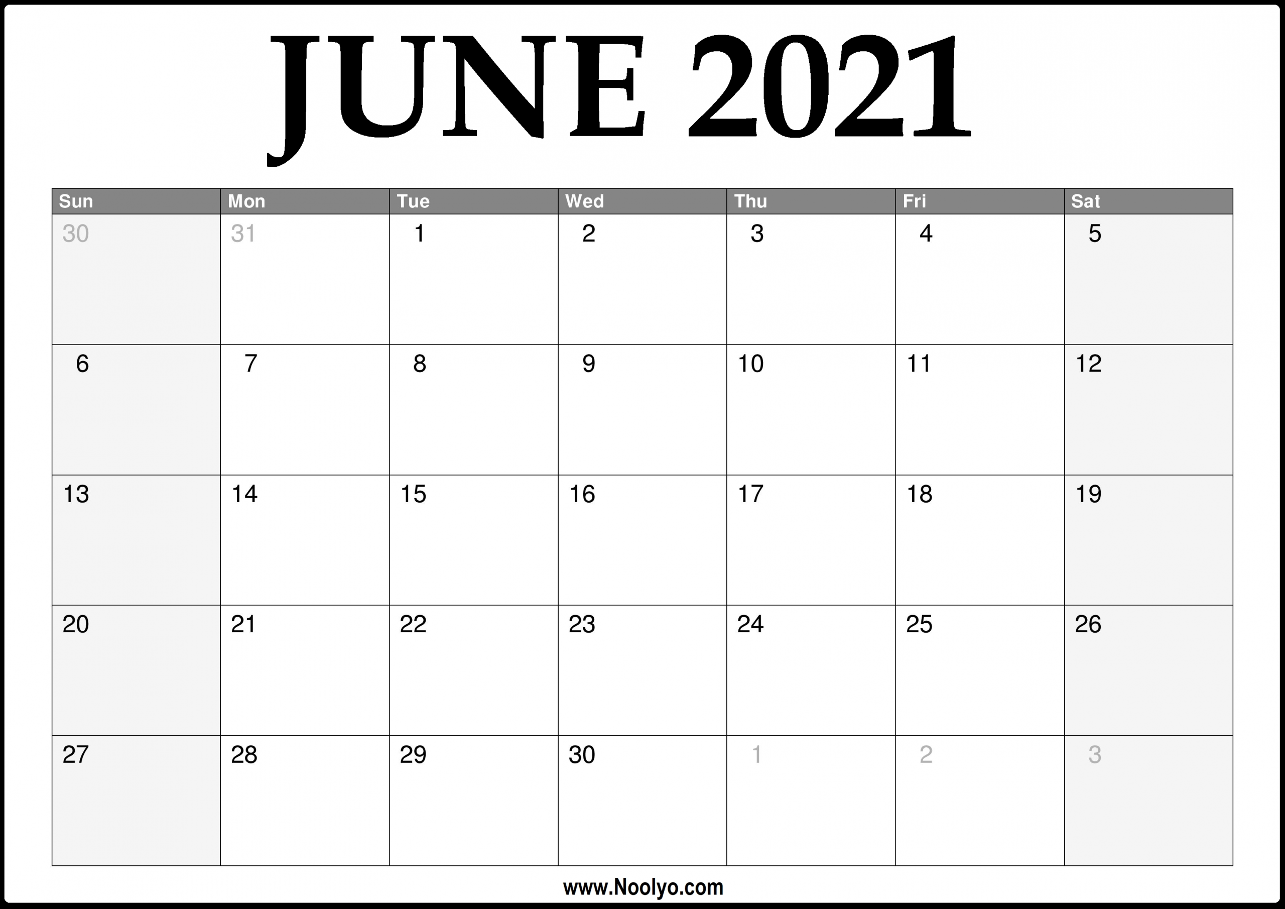 2021 June Calendar Printable – Download Free – Noolyo-Print Free 2021 Calendar Without Downloading