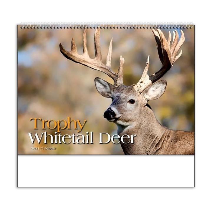 "2021 Trophy Whitetails (Spiral) Calendar | 10-7/8"" X 18"" Spiral Bound; Drop Ad Imprint Marketing-2021 Whitetail Rut Calendar"