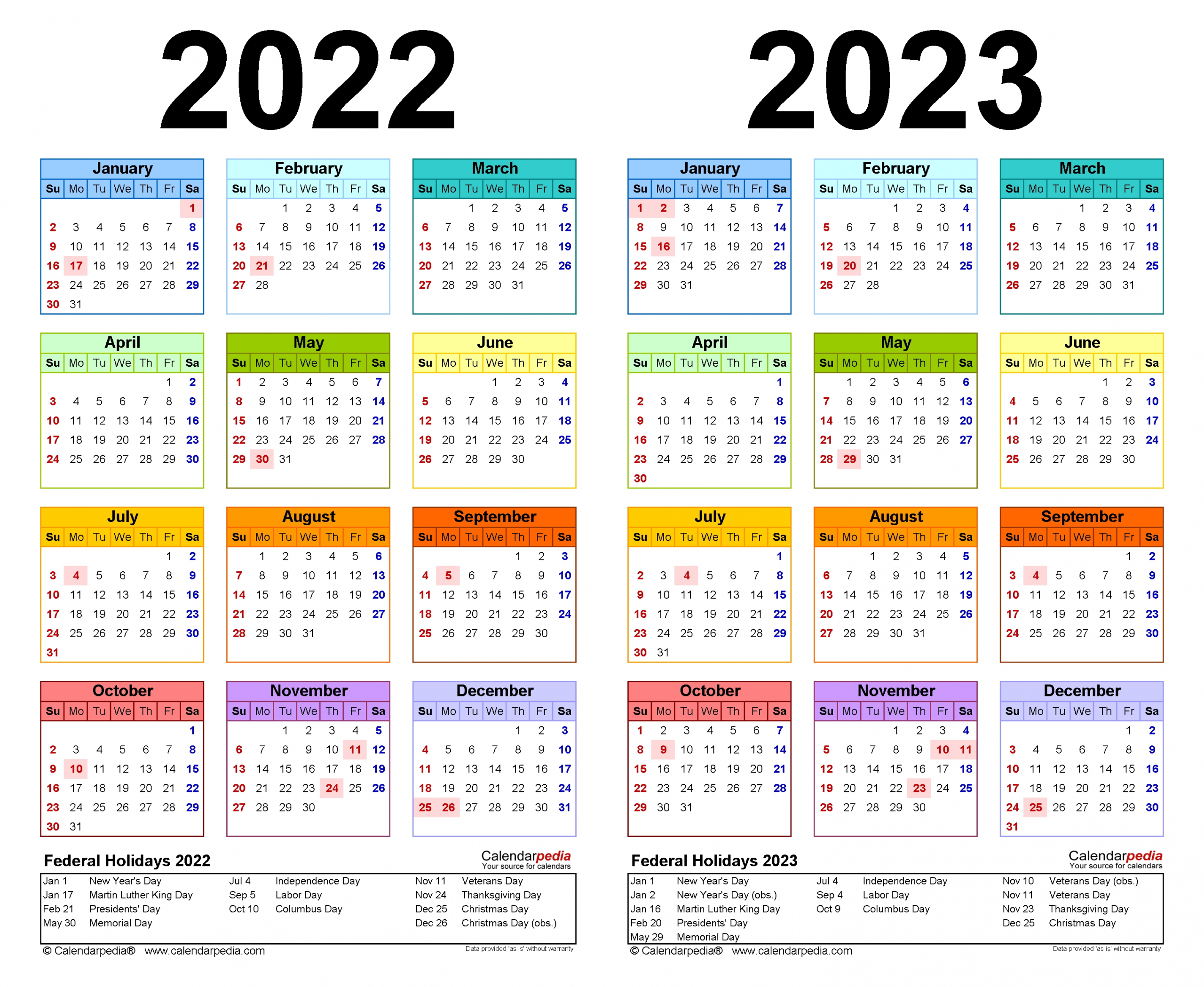 2022-2023 Two Year Calendar - Free Printable Word Templates-3 Year Calendars 2021 2022 2023 Free Printable