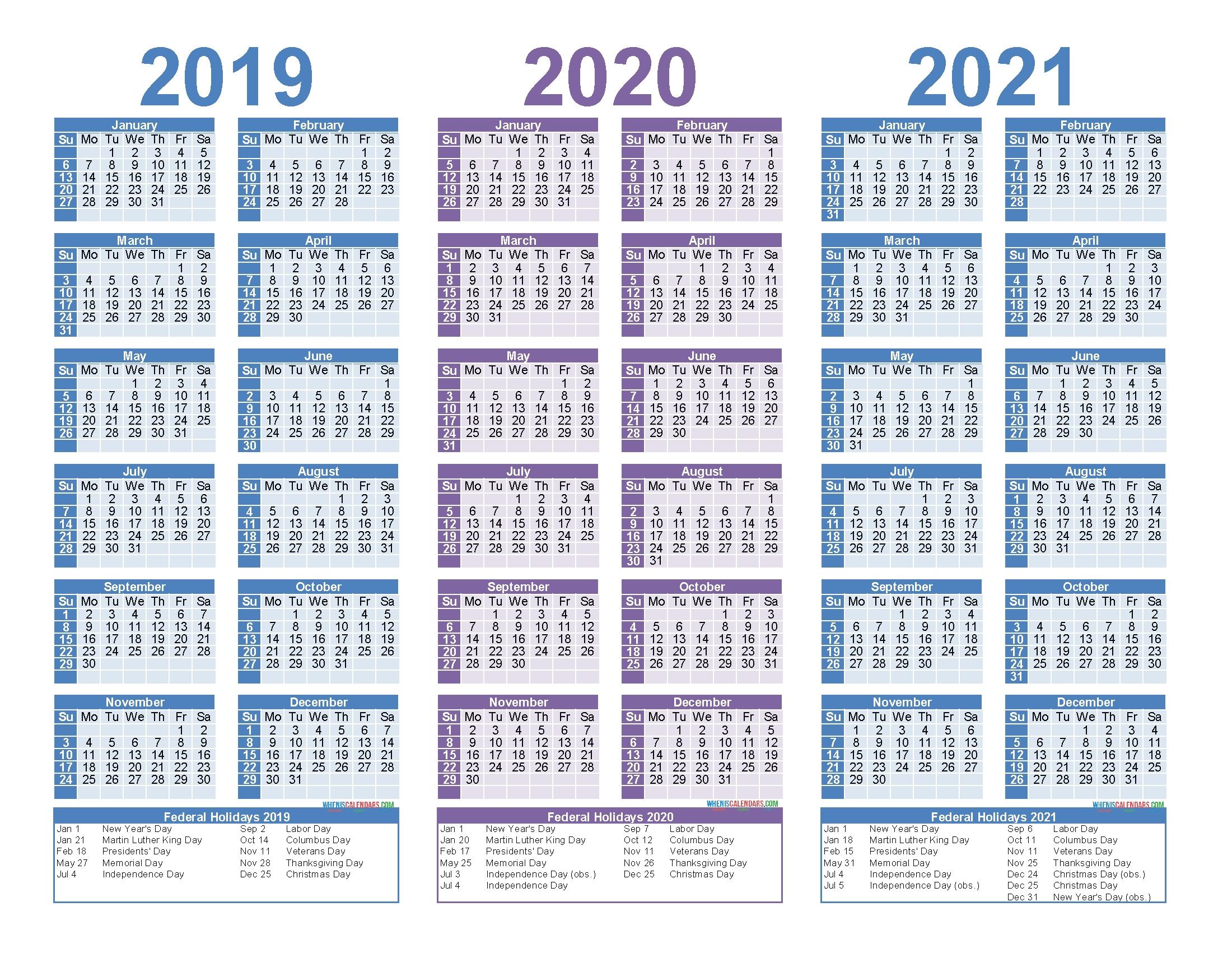 3 Year Calendar 2020 To 2020   Calendar Printables Free Templates-3 Year Calendar 2021
