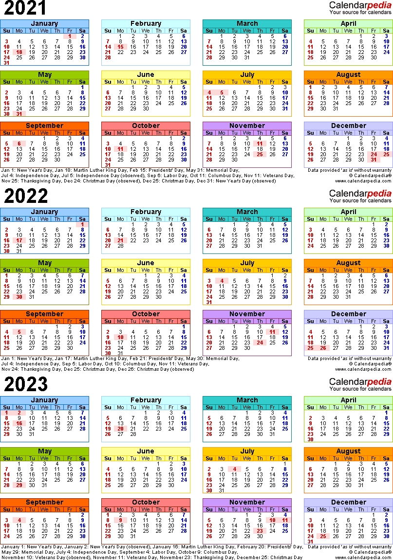 3 Year Calendar 2021 To 2023 | Calendar Printables Free Templates-3 Year Calendars 2021 2022 2023 Free Printable