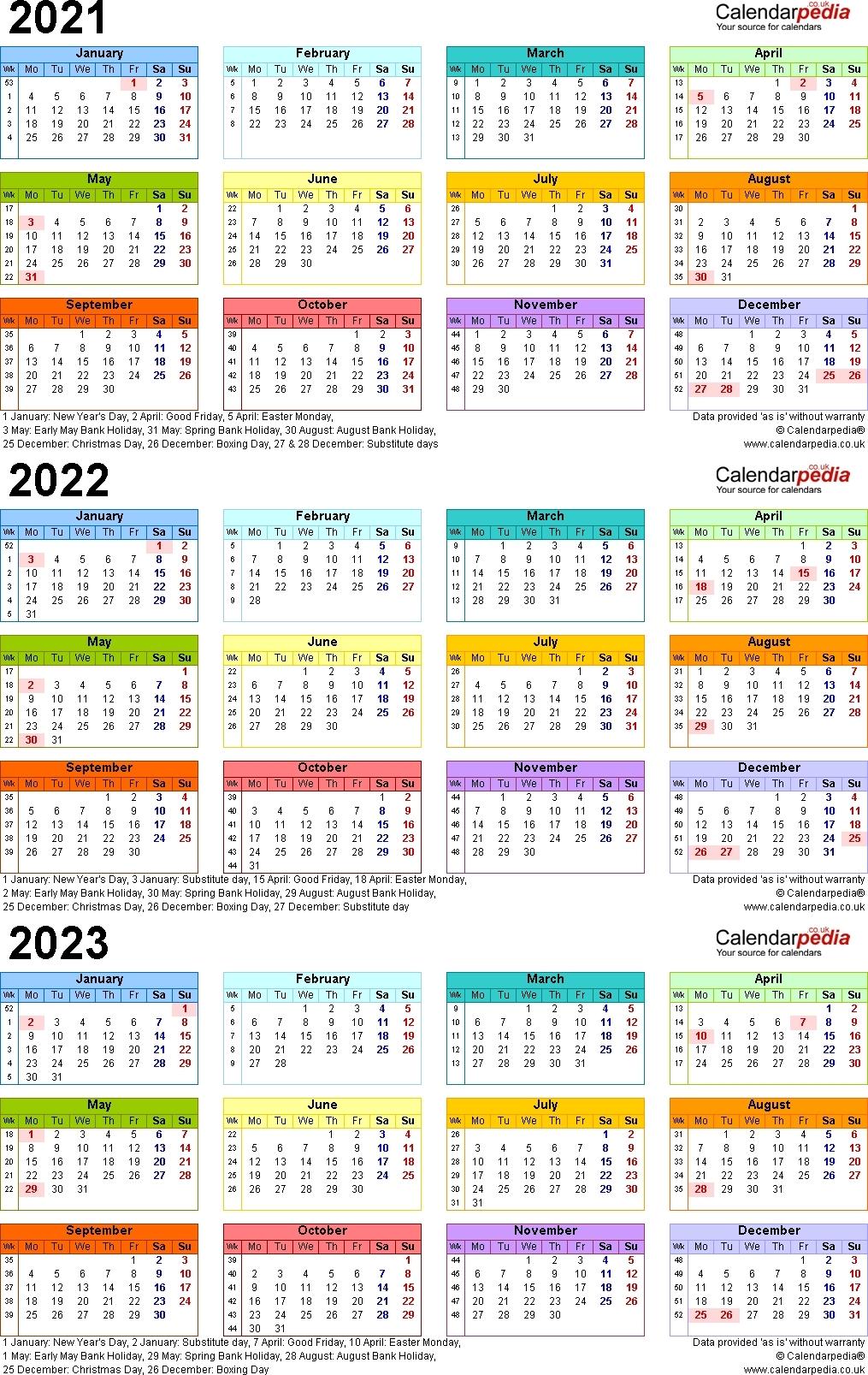 3 Year Calendar 2021 To 2023   Month Calendar Printable-3 Year Calendar 2021