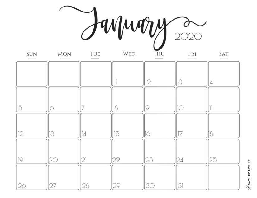30 Minimalist January 2020 Calendars To Print-Festive Printable Calendar 2021