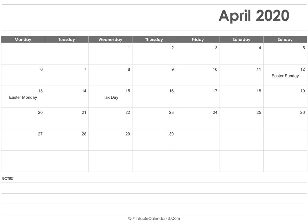 April 2020 Calendar Templates-Free Fillable Calendars 2021