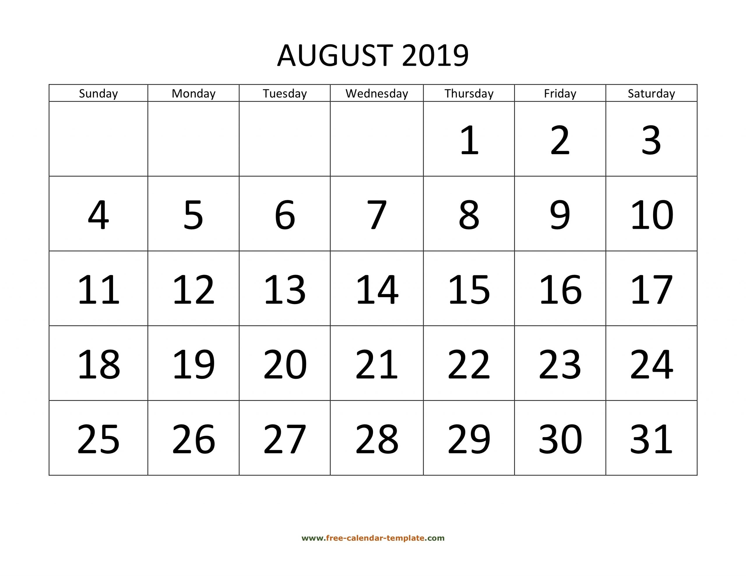 August 2019 Free Calendar Tempplate | Free-Calendar-Template-Sepetember 2021 Calendar With Big Numbers