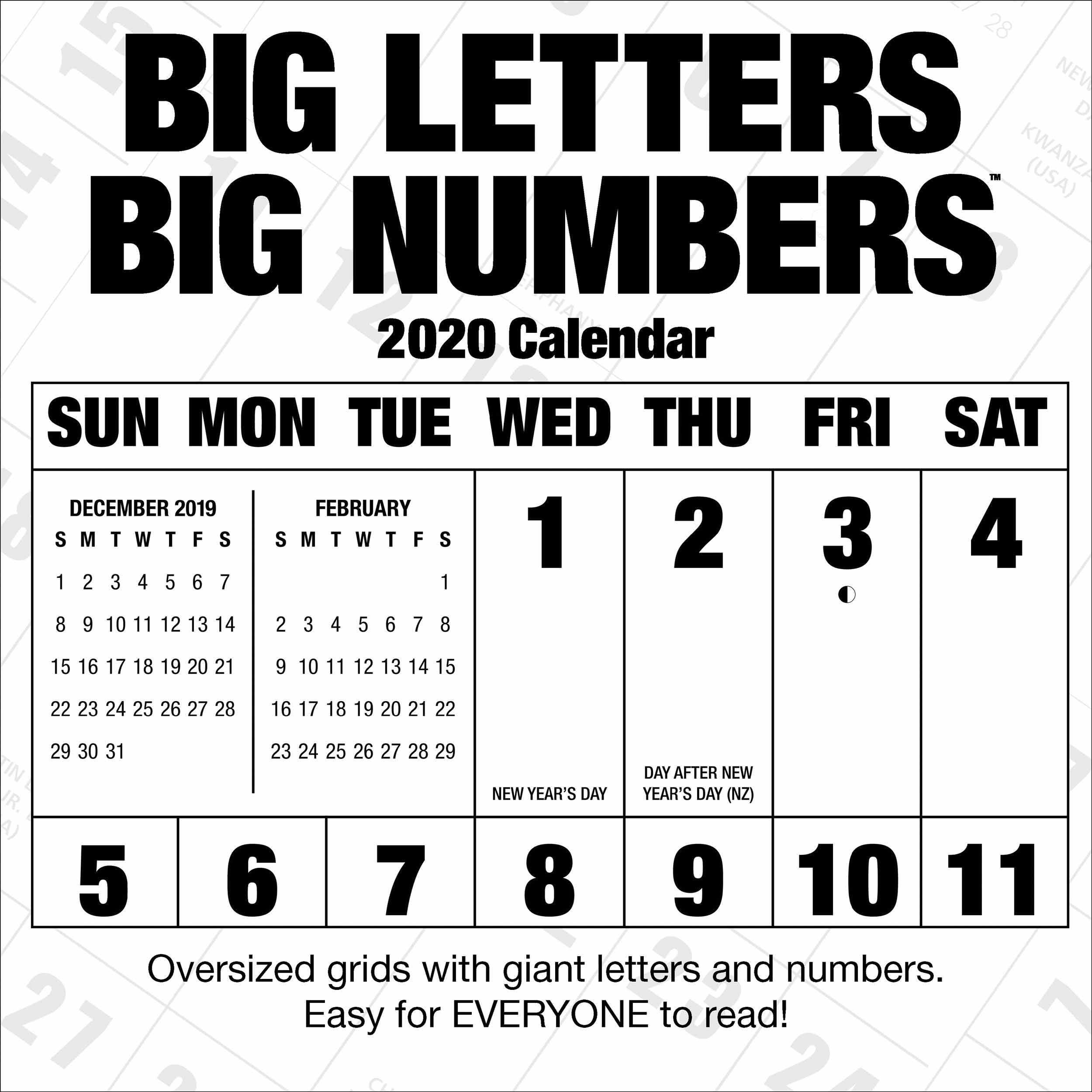 Big Letters, Big Numbers Calendar 2020 - Calendar Club Uk-Large Numbers Calendar October