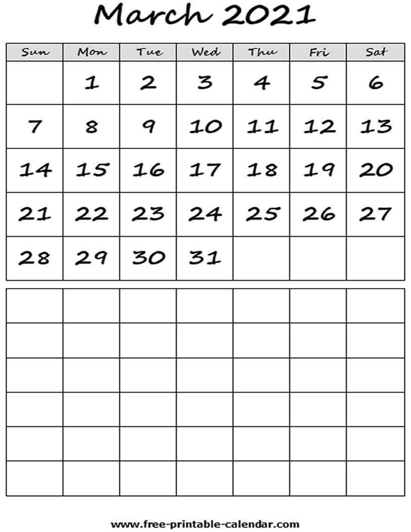 Blank 2021 March Calendar - Free-Printable-Calendar-Monthly Fill In Calendar 2021