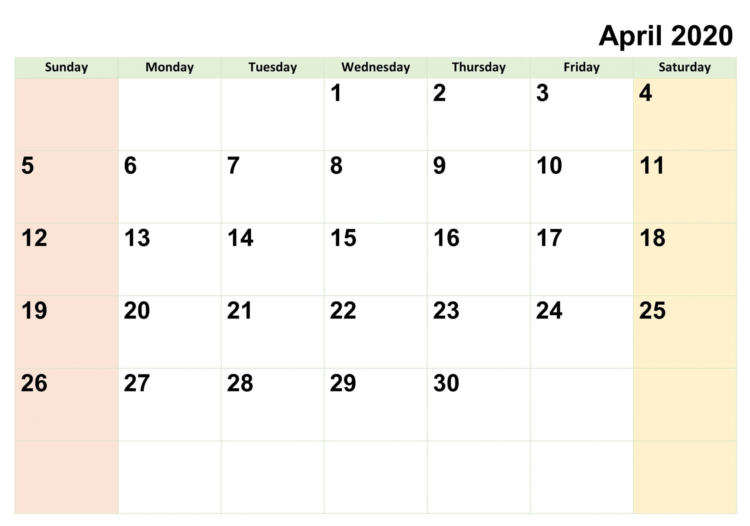 Blank April 2020 Calendar Printable With Notes Pdf - Set Your Plan & Tasks With Best Ideas Blank-Free Fillable Calendars 2021