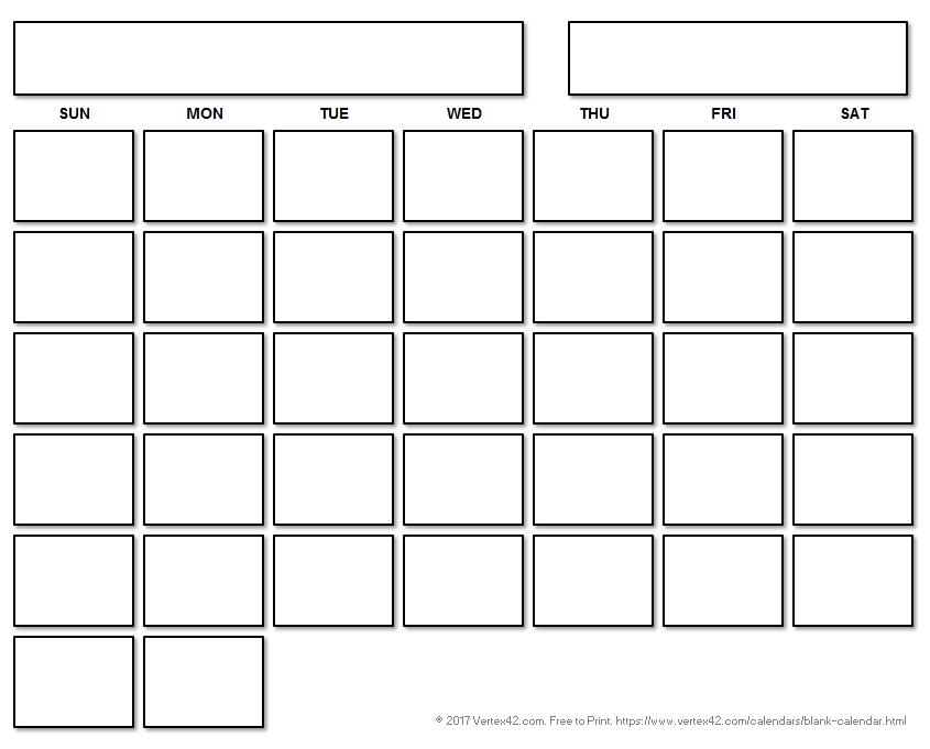 Blank Calendar Template - Free Printable Blank Calendars By Vertex42-Free Fill In Printable Calendars