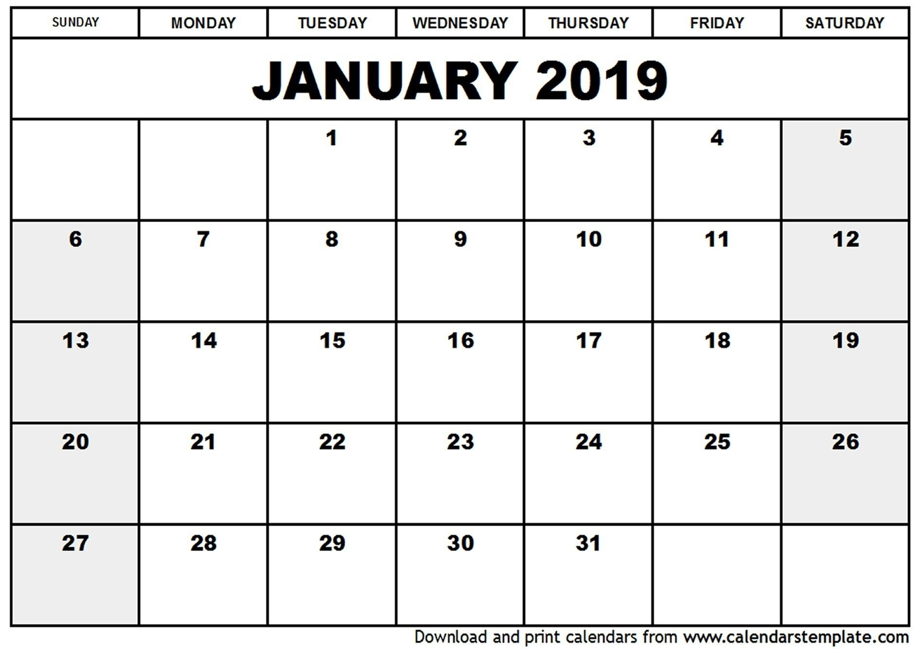 Blank Fillable Calendar 2019 – Template Calendar Design-Free Fill In Calendars 2021