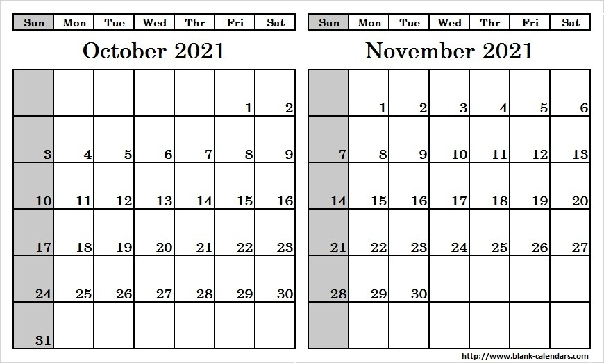 Blank Two Month October November 2021 Calendar Printable Template-Monthly Calendar Printable October 2021