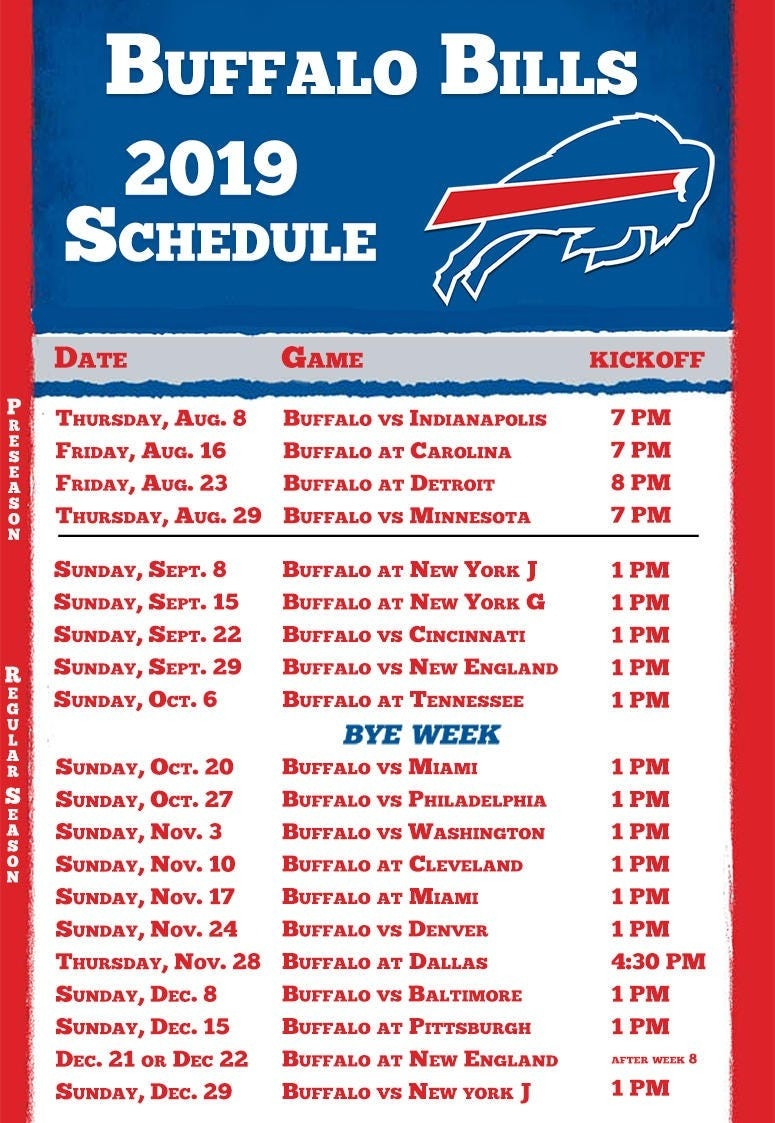 Buffalo Bills 2019 Season Schedule | Espn Rochester 95.7 Fm-1 Page Printable Nfl Schedule