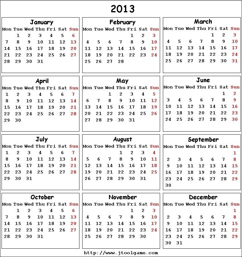 Calendar 2013 - Printable Calendar With Holiday List. Calendar 2013 In Multiple Color, Multiple-Printable Monthly Blank Calendars Showing Nfl Games