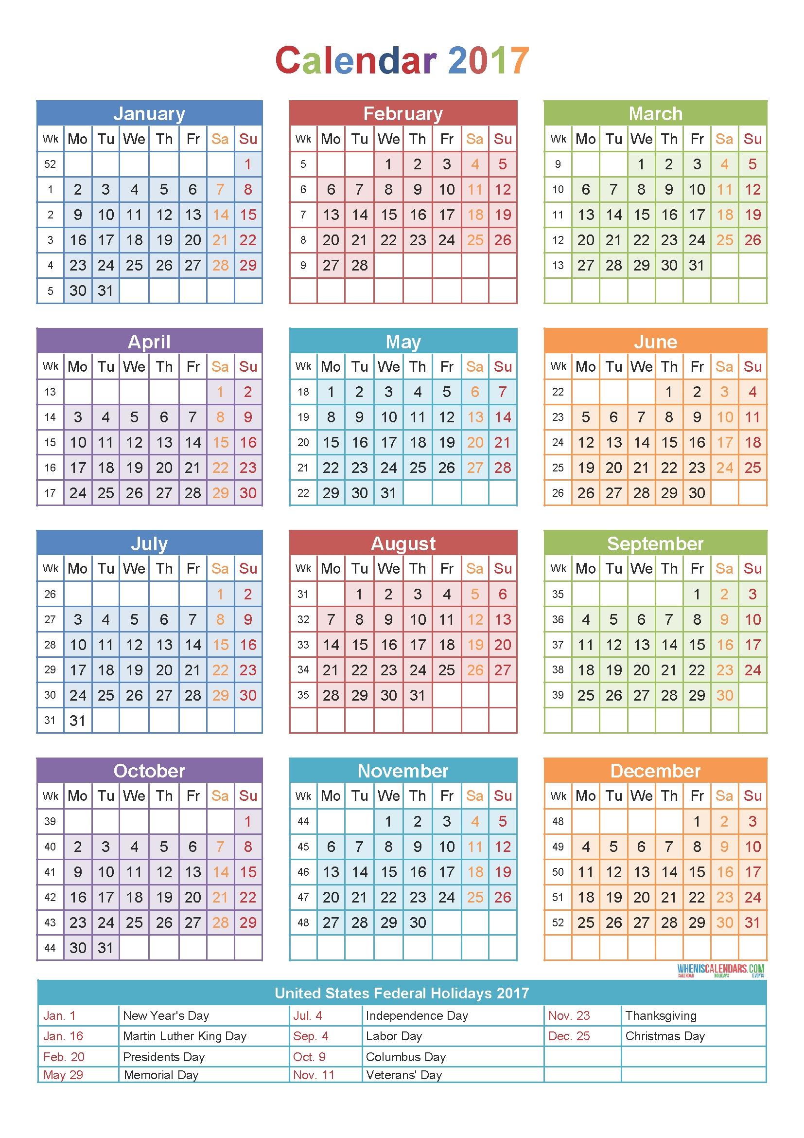 Calendar 2017 By Week Number   Yearly Calendar Template-Yearly Week Number Calendar Excel0.