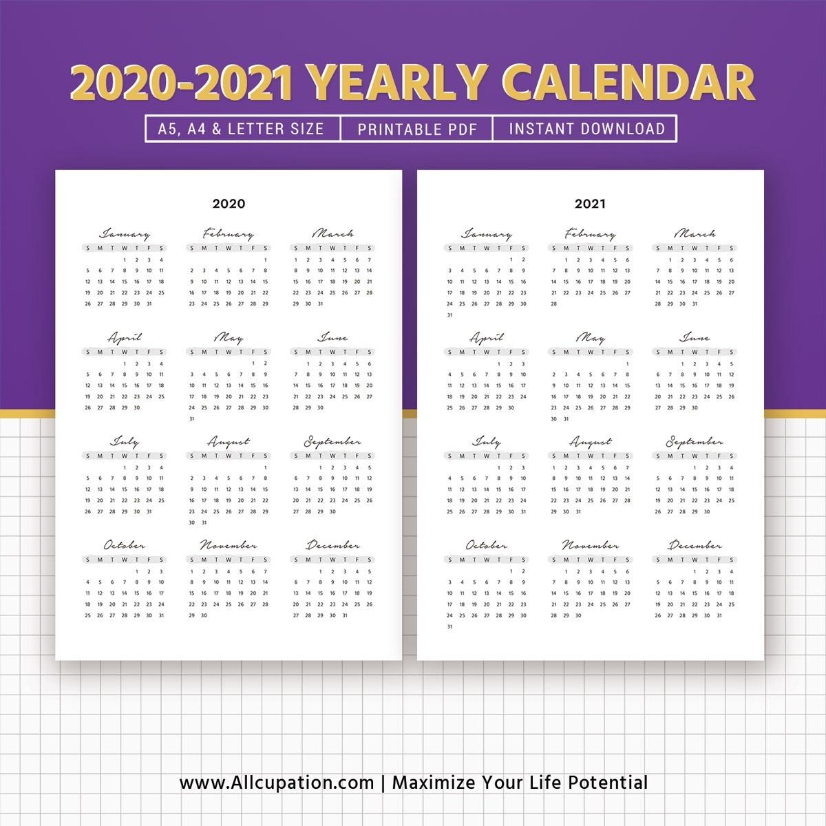 Calendar 2020 Year At A Glance | Calendar Printables Free Templates-Fill In Printable Calendar 2021