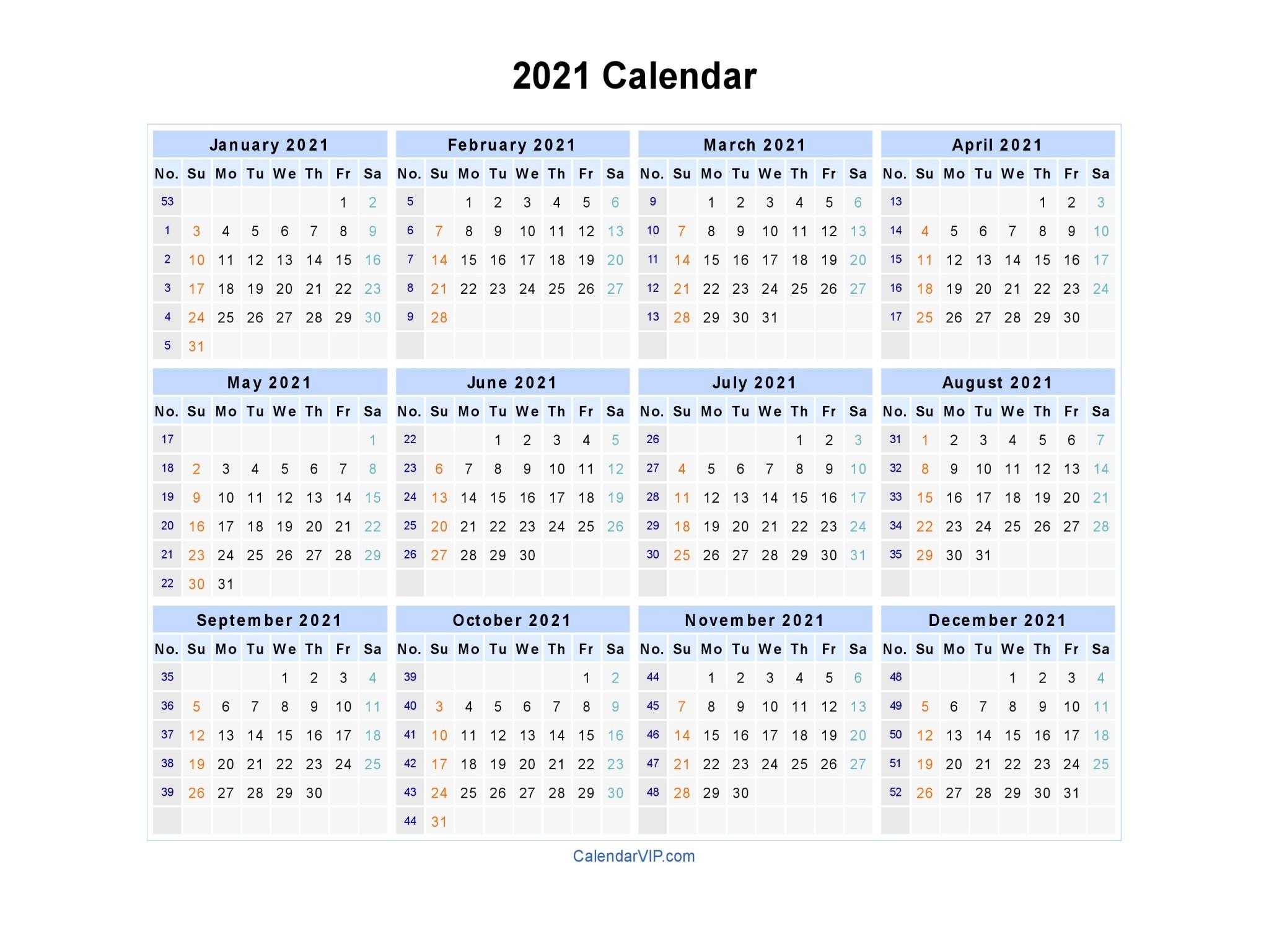 Calendar 2021 – Printable Year Calendar-2021 Yearly Calendar With Boxes