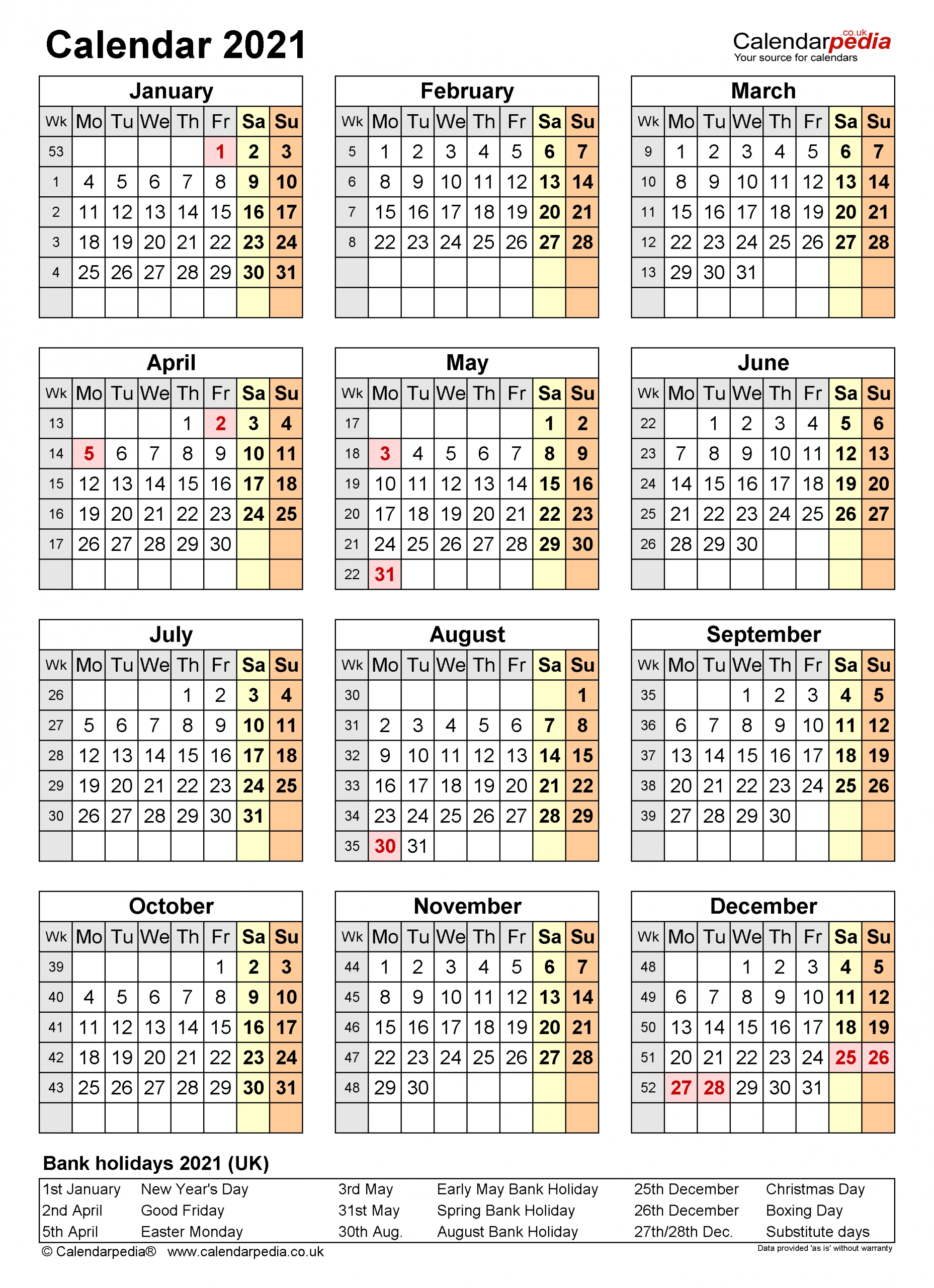 Calendar 2021 (Uk) - Free Printable Microsoft Word Templates-Large Number Flip Calendar 2021