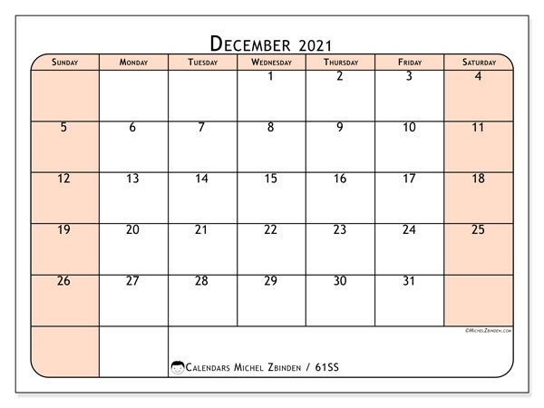Calendar December 2021 - 61Ss - Michel Zbinden En-Printable October 2021 Calendar On An 8.5 X 11Paper
