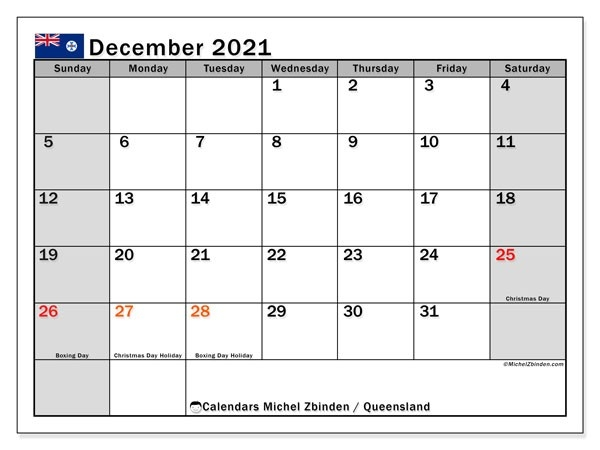 Calendar December 2021 - Queensland - Michel Zbinden En-Printable October 2021 Calendar On An 8.5 X 11Paper