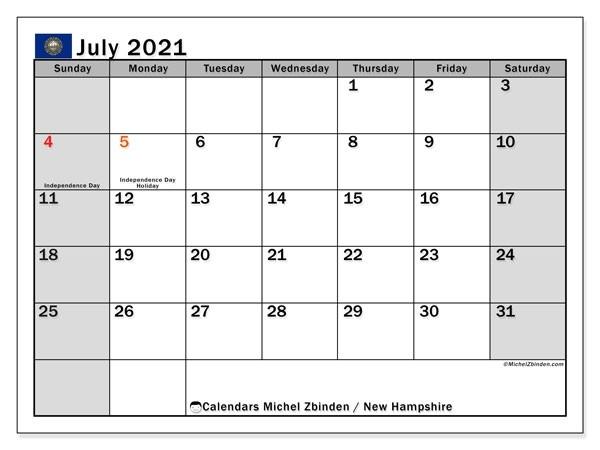 Calendar July 2021 - New Hampshire - Michel Zbinden En-Printable October 2021 Calendar On An 8.5 X 11Paper