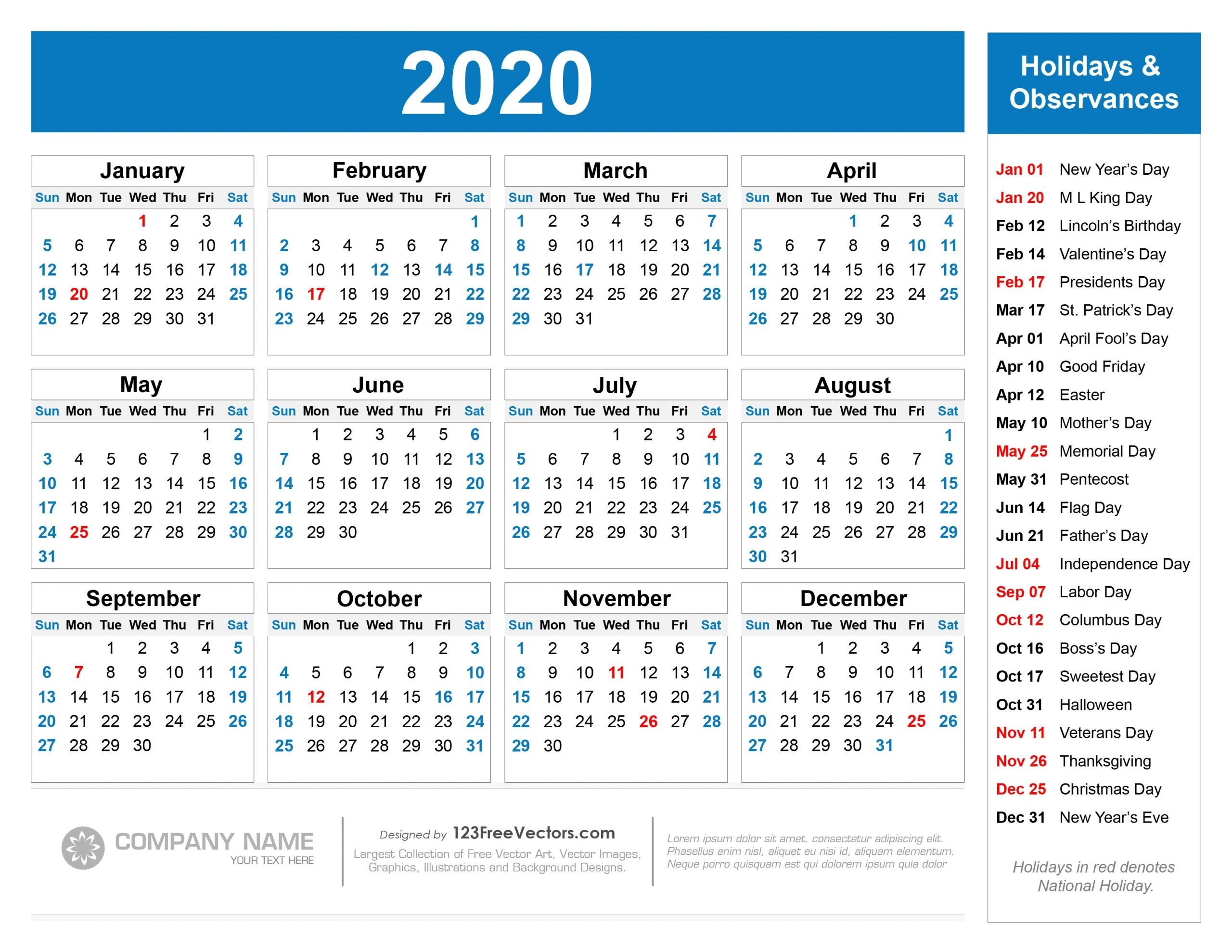 Collect 2020 Calendar With Federal Holidays | Calendar Printables Free Blank-Blank I 9 Form 2021